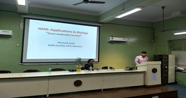 Department Head Introducing Dr  Mamata Joshi  for her engrossing talk on NMR- Applications in Biology